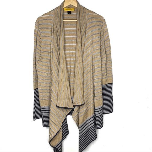 St. John Sweaters - St. John Striped Wrap Open Cardigan